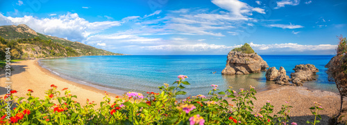 Staande foto Strand Panorama of Porto Zorro beach against colorful flowers on Zakynthos island, Greece