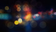 Leinwanddruck Bild - Colorful defocused bokeh lights in blur night background