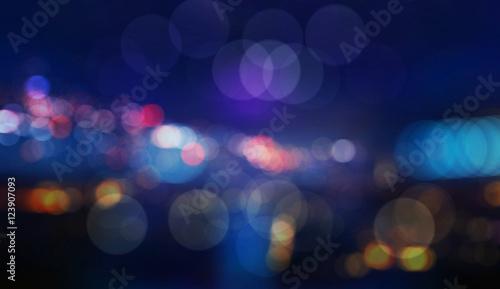 Fotografie, Obraz Colorful defocused bokeh lights in blur night background