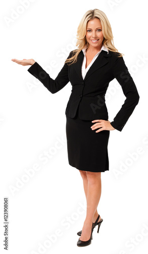 Businesswoman Gesturing  Showing on White Tapéta, Fotótapéta