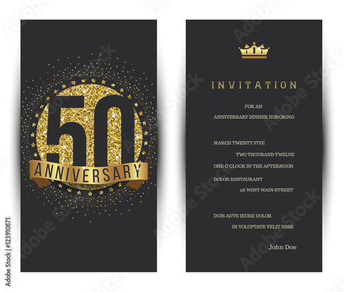 Fotografie, Tablou  50th anniversary decorated greeting card template.