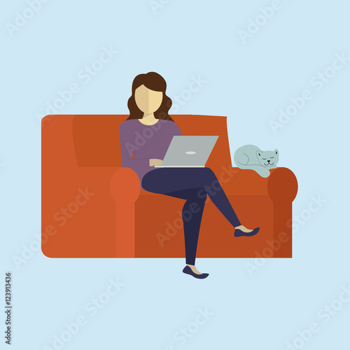 Woman siting with a cat and surfing the web Poster