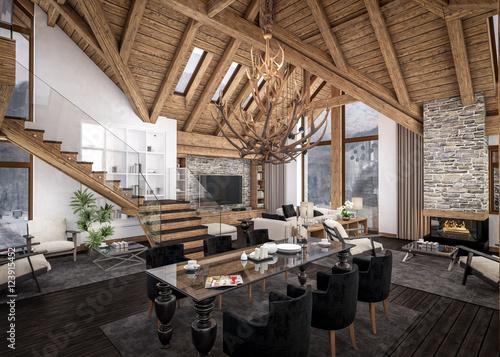 Fotografie, Obraz  3D rendering of  living room of chalet