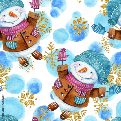 Cotton fabric Watercolor cartoon snowman in childish style background.