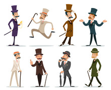 Gentleman Victorian Business Cartoon Character Icon Set English Isolated Background Retro Vintage Great Britain Design Vector Illustration