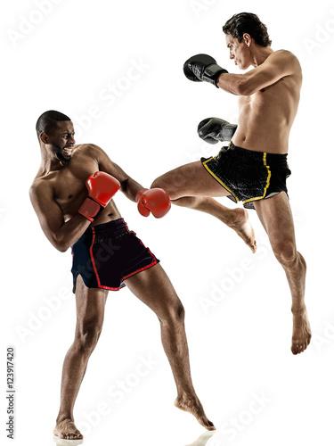 Obraz na plátne Muay Thai kickboxing kickboxer boxing men isolated