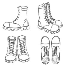 Vector Set Of Sketch High Leather Army Boots. Side, Front And Top View
