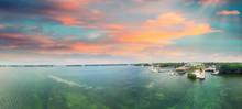 Islamorada Coastline At Sunset, Aerial View Of Florida