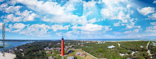 Photo Ponce de Leon Lighthouse near Daytona Beach, aerial sunset view