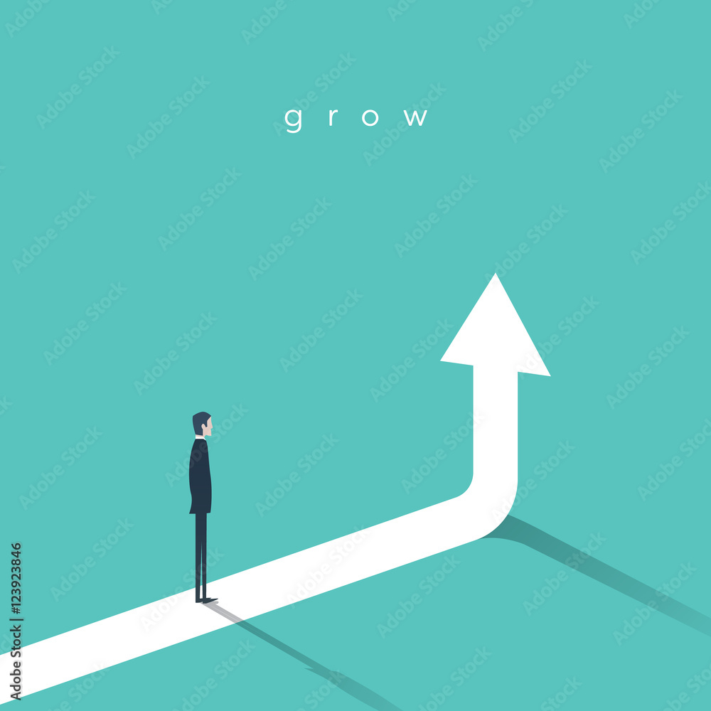 Fototapeta Business growth vector concept with businessman and vertical arrow going up.