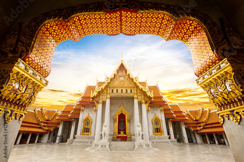 Foto op Canvas Temple Marble Temple of Bangkok, Wat Benchamabophit Dusitvanaram, Thailand