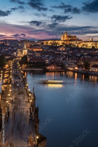 Wall Murals Prague Stunning view over Charles Bridge and Castle in Prague Czech Republic during sunset from above.
