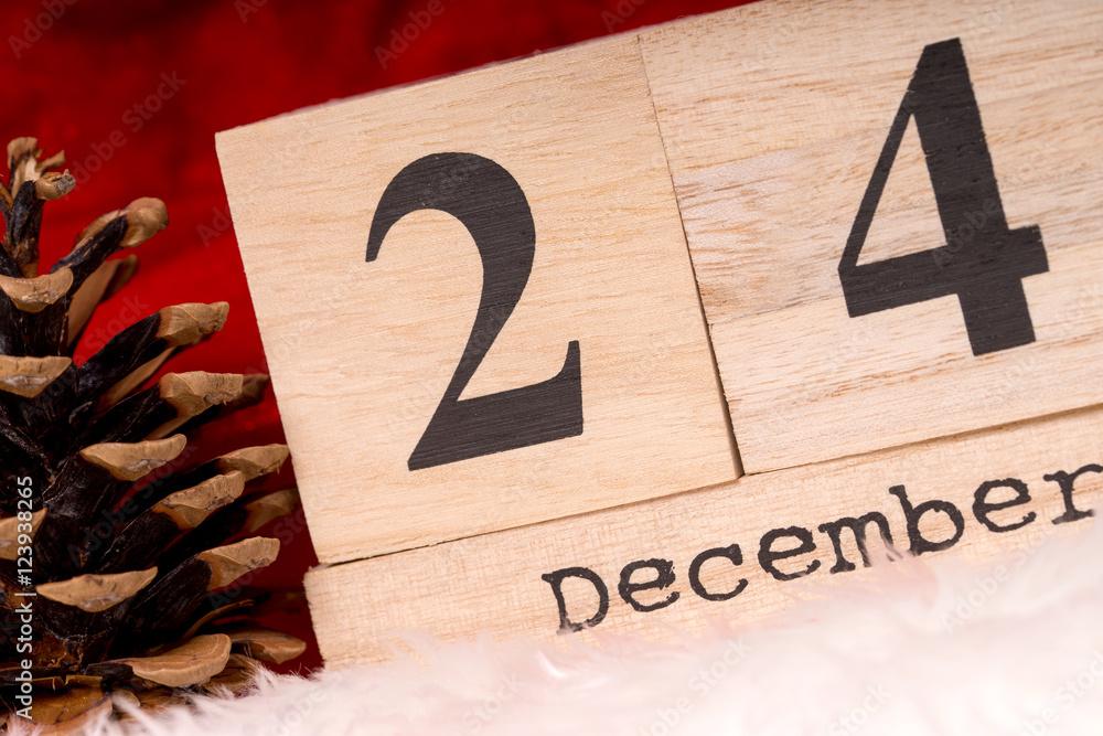 Weihnachten Datum.Weihnachten Holzwürfel Mit Dem Datum 24 Foto Poster Wandbilder
