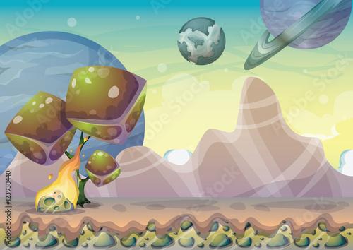 wektor-kreskowka-krajobraz-z-tlem-meteor-z-oddzielonymi-warstwami-dla-gry-sztuki-i-animacji-gry-aktywow-projektu-w-grafice-2d