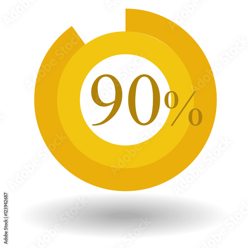 Business Colorful Pie Chart Circle Graph 90 Gold Vector