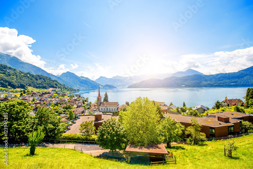 Landscape view on Weggis village on Lucerne lake with beautiful mountains on the Canvas Print