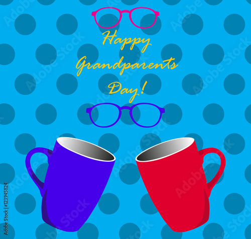 Poster Retro sign Grandparents Day, greeting card. Forget me not. Googles. Glasses. Blue font. Mugs. Vector illustration