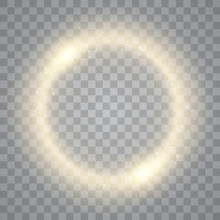 Round Shiny Frame Background With Lights. Abstract Luxury Light Ring. Vector
