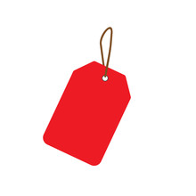 Empty Red Sale Price Tag. Sale Tag. Vector Illustration.