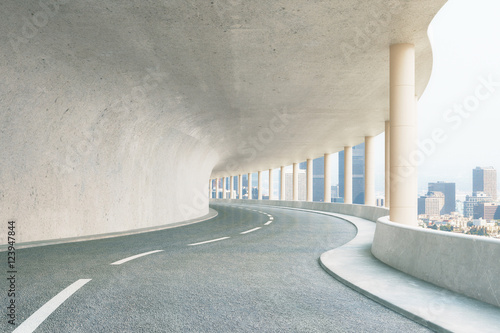 Papiers peints Tunnel Concrete tunnel with city view