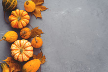 Small Orange Pumpkins  With Le...