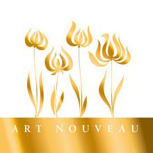 Gold Tulip Art Nouveau Style V...