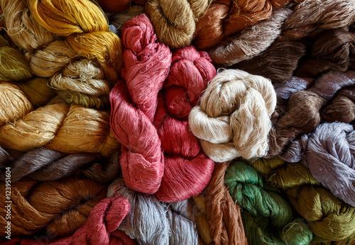 Fotomural Beautiful colorful silk dyeing natural