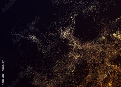 Stickers pour porte Fractal waves Abstract 3d rendering of chaotic particles. Flying cubes in empty space. Dynamic shape. Futuristic background. Poster design.