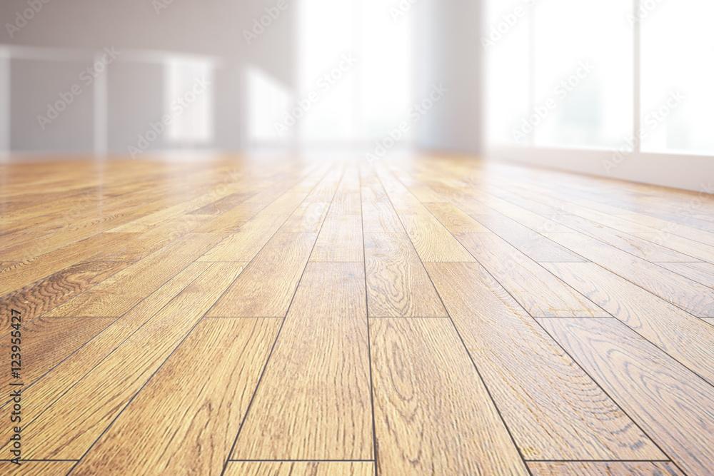 Fototapeta Light wooden floor closeup