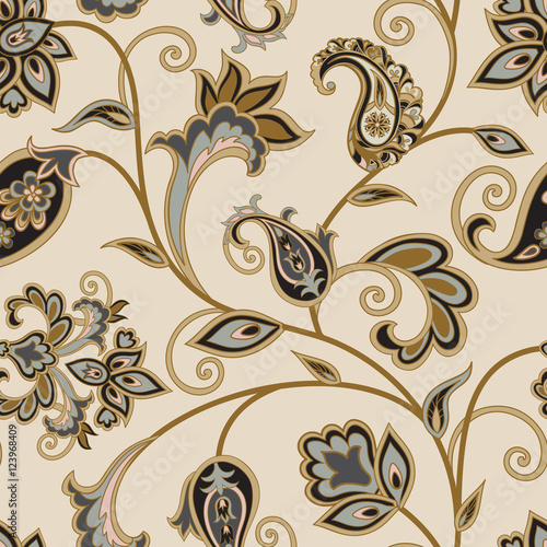 Cotton fabric Floral pattern. Flourish oriental ethnic background. Arabic swirl flower leaves ornament