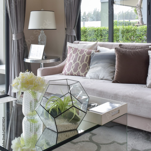Fotografie, Obraz  luxury earth tone color pillows on sofa in living room
