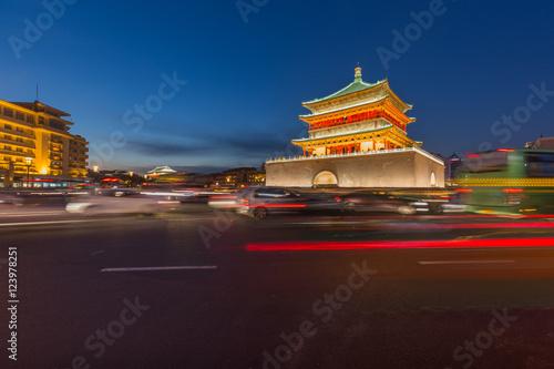 Foto op Plexiglas Xian In the evening, Xi'an city building