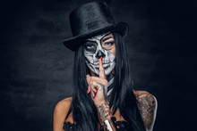 A Woman With Skull Make Up.