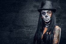 A Woman With Skull Make Up In ...