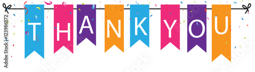 Fotografía Thank you sign with colorful bunting flags and confetti background