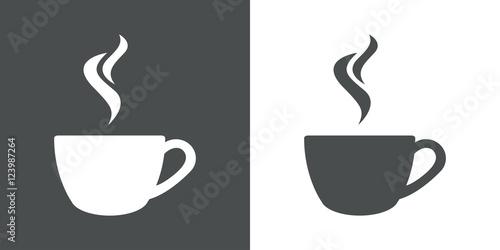 Płaski szary ikona parze kawy