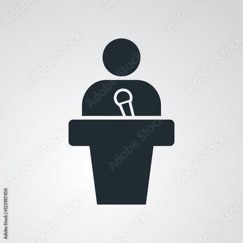 Icono plano orador en fondo degradado