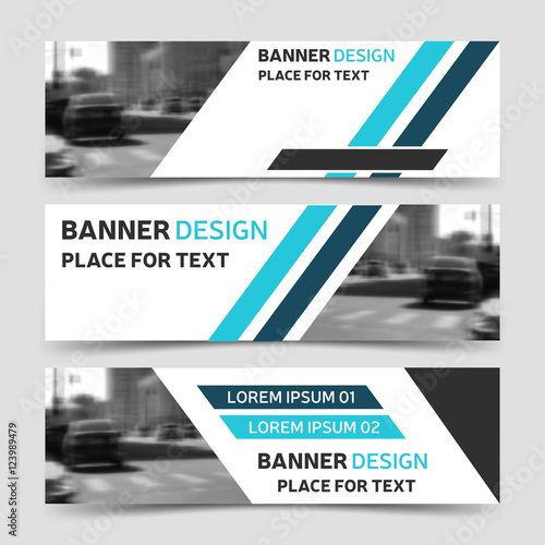 Set blue horizontal business banner templates website modern design set blue horizontal business banner templates website modern design flashek Images