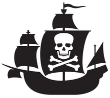 Pirate Ship With Skull With Crossed Bones On The Sail
