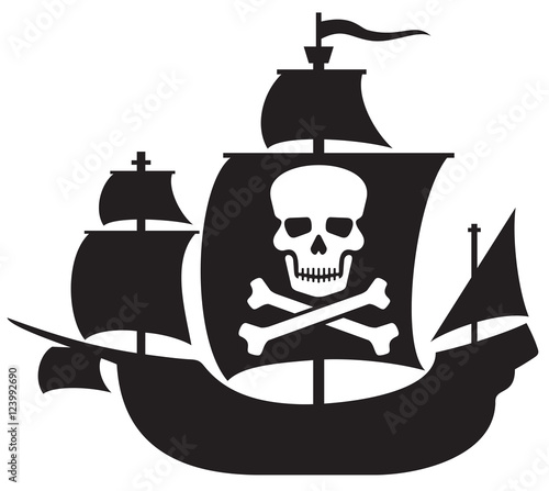 Photo pirate ship with skull with crossed bones on the sail