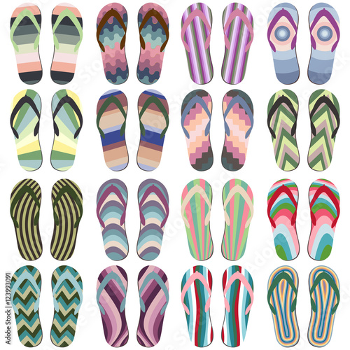 31ba859bbbf21d Set of Beach Slippers. Colorful Summer Flip Flops Isolated on White  Background