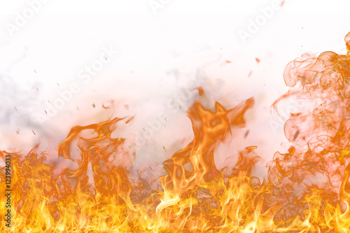 Fotobehang Vuur Fire flames on white background