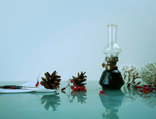 Christmas, New Year. Kerosene Lamp With Pine Cones. Space For Text
