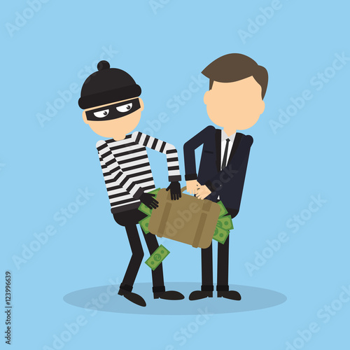Thief Stealing Money From Businessman Robber In Black Mask Holding The Bag Of