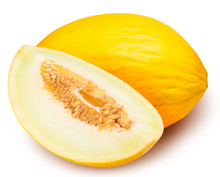 Set Of Yellow Melon Isolated On White Background
