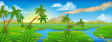 Fototapeta Dino - Cartoon Prehistoric Background Scene Landscape