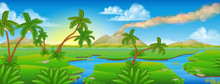 Cartoon Prehistoric Background Scene Landscape