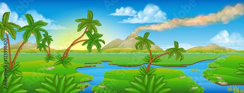 Fotomural Cartoon Prehistoric Background Scene Landscape