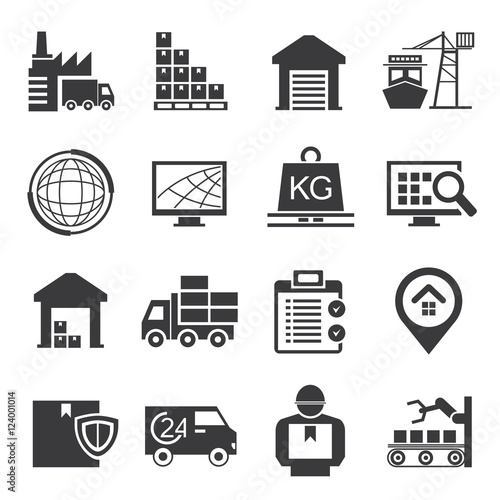 logistics, supply chain icons Wall mural