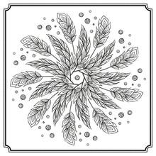 Vector Hand Drawn Feathers Mandala Pattern